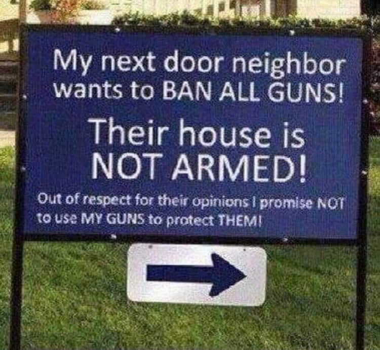 Fegyvertelen szomszédra figyelmeztető tábla – Hétvégi Humorbonbon